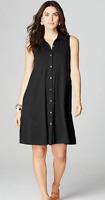 NEW J. Jill 1X Tank Knit A-line Shirtdress Pockets Button Down Pima Cotton Black