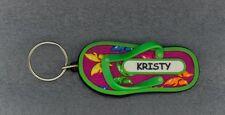 KRISTY Rubber Flip Flop Name Key Ring Keychain Stocking Stuffer Butterfly Green