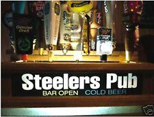 LED LIGHTED 18 BEER TAP HANDLE HOLDER / BAR SIGN STEELERS PUB