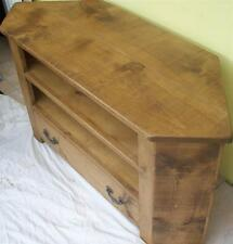 SOLID WOODEN CORNER TV CABINET STAND ENTERTAINMENT UNIT CHUNKY RUSTIC PLANK PINE