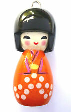 1 x WOODEN  JAPANESE DOLL CHARMS TERRACOTTA ORANGE 50mm x 20mm APPROX