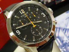 TISSOT PRC 200 Black Chronograph Black Leather Band Watch! T055.417.16.057.00