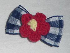 Dog Hair Bow - NEW - Pretty Cute Puppy Accessory clip on Checkered Blue + Flower