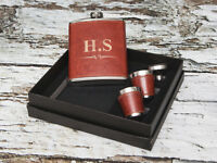 7oz Full Leather Personalised Hip Flask Set 2 cups - Gift Box Dad, Grandad, Xmas