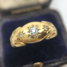 Antique Victorian Three Stone Gypsy Style Diamond Ring Band 18ct Yellow Gold