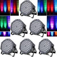 6PCS 72W 36LED RGB Stage Light Flat Par Lamp Club DJ Party Disco DMX512 Control
