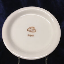 """WILLIAMS SONOMA 8"""" PLATE WHITE WITH INCISED SLICED BAGEL & LETTERING IN CENTER"""