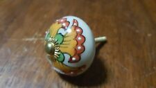 Hand-made Hand-painted Ceramic Drawer Knob - White with yellow flowers - S74