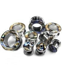 """PAIR-Mother of Pearl Rimmed Steel Screw On Tunnels 12mm/1/2"""" Gauge Body Jewelry"""