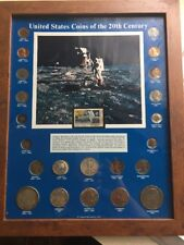United States Coins Of The 20 Th Century In Frame First Man On The Moon