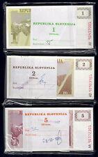 slovenia 1 + 2 + 5 tolar 1990 mazzette da 100 cad fds unc