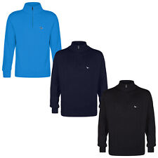 David Mills Mens Half Zip Sweater - Designer Cotton Mix Jumper Pullover Golf Top
