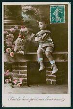 Edwardian Child Girl Caniche Poodle Dog original vintage old 1910 photo postcard
