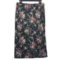 Bobeau size Large skirt black floral print pull on velvet L NEW