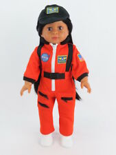 """Orange NASA Jumpsuit Outfit Fits 18"""" American Boy or Girl Doll Clothes"""