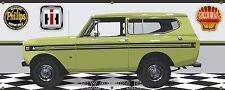 1974 INTERNATIONAL IH SCOUT II CEYLON GREEN GARAGE SCENE BANNER SIGN ART 2X5