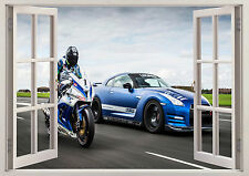 NISSAN GTR NISMO CAR RACING MOTOCROSS 3d Effect Window Wall Sticker Poster 176