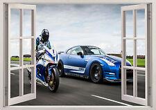 NISSAN GTR a nismo AUTO RACING MOTOCROSS EFFETTO 3D Finestra di adesivi murali Poster 176