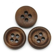 100PCs Wood Buttons Sewing Scrapbooking 4 Holes Round Concave Brown 12mm Carft