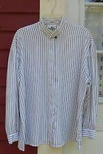 "Evan Picone Navy/White Striped Long Sleevd Button Down Career Shirt 18W 50"" MINT"
