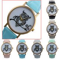 Retro Womens Watches OWL Dial Leather Analog Quartz Wrist Watch Watches