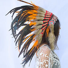 Feather Headdress- Native American Indian Inspired -ADJUSTABLE- Orange Rooster