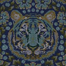 EDEN Tula Pink CROUCHING TIGER in SAPPHIRE Fabric FQ QUILTING Jungle ANIMAL Cat