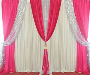Wedding Party Stage Decor Backdrop Drapes Background Silver Sequin Curtain Swag
