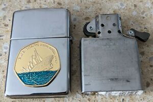 Original Zippo Chrome Lighter -Customised for the sinking of the Titanic -used