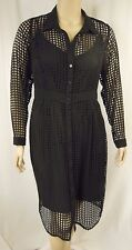 NEW City Chic Sexy Black Long Sleeve Flicker Shirt Dress Plus Size S 16 # Q34