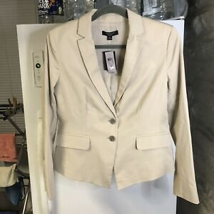 NWT Ann Taylor Womans Blazer 8P Beige Cotton Solid Button Up Tailored Jacket