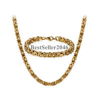Mens Stainless Steel Byzantine Rope Link Chain Necklace and Bracelet Jewelry Set