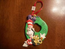 Dr. Seuss Grinch Christmas Ornament Green Wreath 3.5""