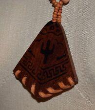 VTG Wood Bead Cactus Southwestern Pendant Necklace