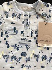 MinyMo (Denmark) Nwt Organic Cotton Blue Shortall Romper - Newborn-1 Month
