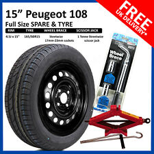 "Peugeot 108  2014 - 2017 15"" FULL SIZE STEEL SPARE WHEEL & TYRE  + TOOL KIT"