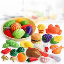 Kids Pretend Play Cutting Fruit Breakfast Burger Food Kitchen Educational Toy