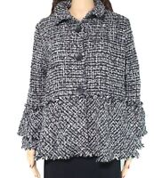 Damee Inc. Womens Jacket Black Size 0X Plus Button-Front Tweed Fringe $198 740
