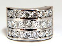 4.02ct Natural Princess Round Diamonds Band Three Row Channel Ring 14kt