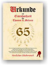 Eisenhochzeit Urkunde zum 65. Hochzeitstag Geschenkidee Eiserne Hochzeit NEU