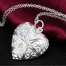 Weinlese-Silber-Liebes-Herz-Valentinsgruß-Liebhaber-Locket Halskette Anhäng A6W9