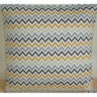 "NEW 14"" Cushion Cover Retro Grey Charcoal and Saffron Mustard Zig Zag Chevrons"