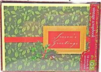 Holly Christmas Holiday Scrapbook Vintage Style Cards Seasons Greetings 14ct New