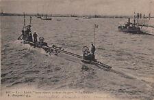 Postcard Submarine Ship Le Lutin Sous Marin Sortant du Part La Pallice