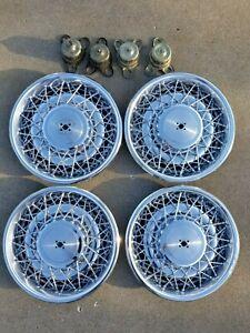 "1975-1984 Cadillac Deville 15"" Set of 4 Wire Spoke Hub Cap Wheel Cover Oem"