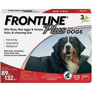 Frontline Plus for XL Dogs 89-132 lbs Flea and Tick Control Treatment 3-Doses