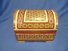 Hand crafted wooden ring gift decorative box red velvet  lacquered parquette art