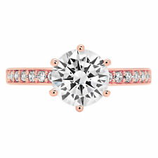 1.96ct Round Cut Accent Solitaire Engagement Wedding Bridal Ring 14K Rose Gold