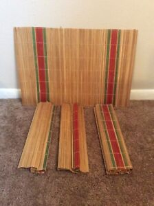 Vintage Bamboo Tiki Table Placemats Set of 4 Brown Red Green / Made In Hong Kong