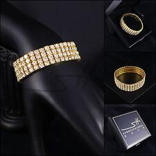 Dehnbares Armband mit Gummi *Zirkonia*, Gelbgold pl, Swarovski Elements, +Etui